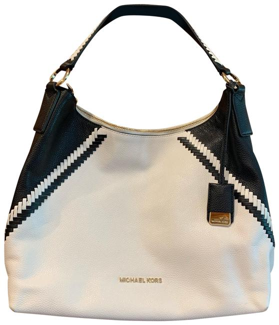Item - And White with Black Stitching Leather Hobo Bag