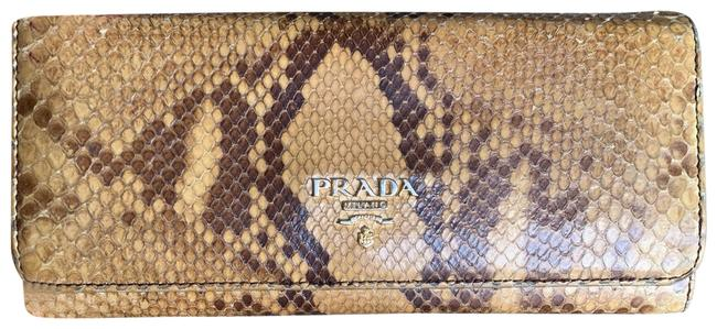 Item - Gold and Brown Python Continental Wallet