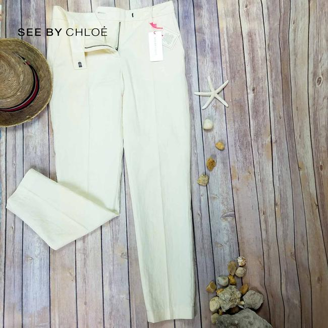 See by Chloé Anke Length Mid Rise Summer Trousers Pencil Skinny Pants Beige Image 5