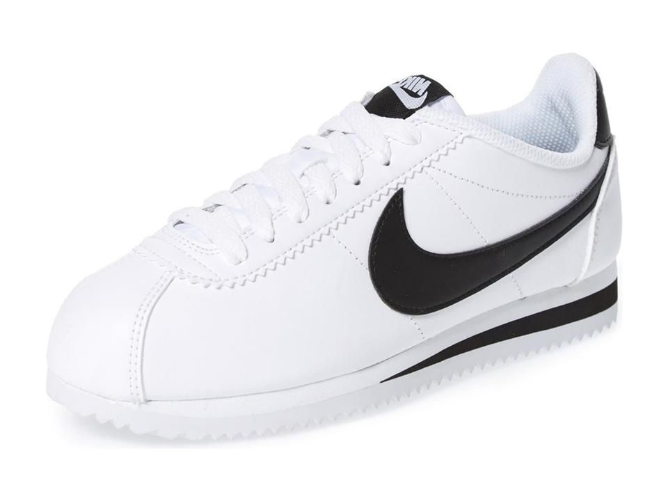 the latest f91c5 e8e95 Nike White/Black Classic Cortez Leather Sneakers Size US 7 Regular (M, B)