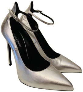 Saint Laurent Pointed-toe Ysl Chic Silver Pumps