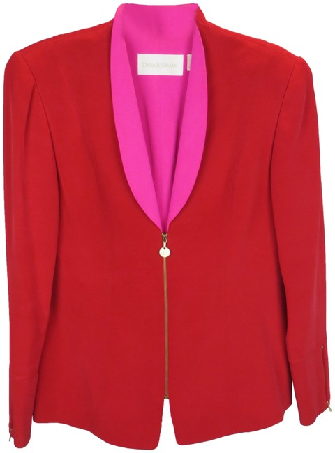 Item - Red and Pink For Saks Fifth Ave Silk Jacket Only Pant Suit Size 12 (L)