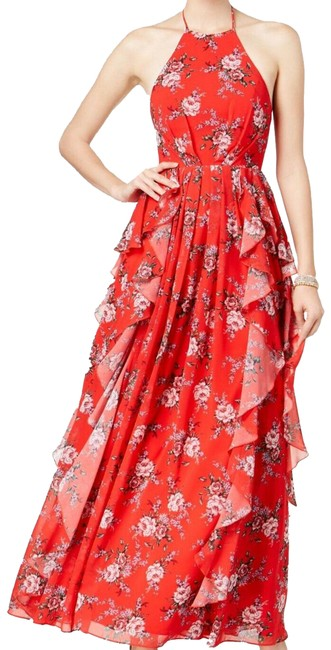 Item - Red Emma Floral Print Halter Long Casual Maxi Dress Size 0 (XS)