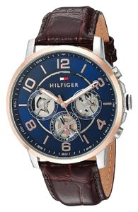 Tommy Hilfiger Tommy Hilfiger Mens Quartz Stainless Steel, Blue Dial & Brown Leather