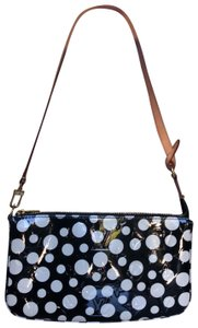 e6f112f7ffff98 Louis Vuitton Wristlet in Black and white polka dot Monogram Vernis with  honey handle and gold