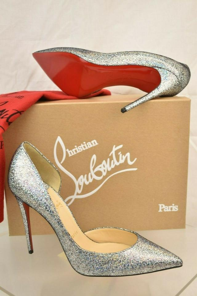 767e211d093 Christian Louboutin Silver Iriza 100 Metallic Mica Glitter Leather 1/2  D'orsay Pumps Size EU 39 (Approx. US 9) Regular (M, B) 24% off retail
