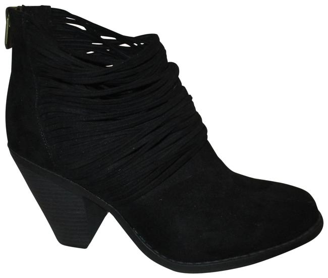Item - Black Faux Suede Wicket Strappy Ankle Boots/Booties Size US 9 Wide (C, D)