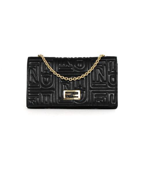 Item - Embossed Monogram Wallet On A Chain Black Leather Cross Body Bag
