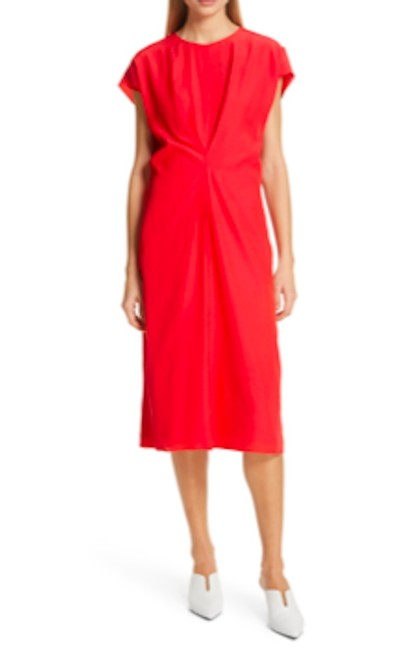 Lewit Red Center Pleat Mid-length Casual Maxi Dress Size 4 (S) Lewit Red Center Pleat Mid-length Casual Maxi Dress Size 4 (S) Image 1