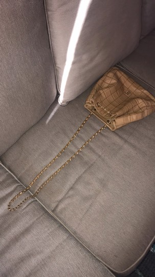 Chanel Lamskin Quilted Chain Drawstring Tote in Beige Image 2