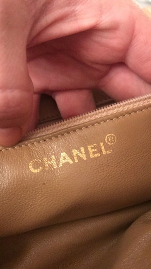 Chanel Lamskin Quilted Chain Drawstring Tote in Beige Image 4