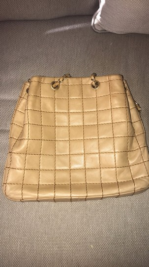 Chanel Lamskin Quilted Chain Drawstring Tote in Beige Image 9