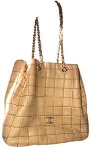 Chanel Lamskin Quilted Chain Drawstring Tote in Beige