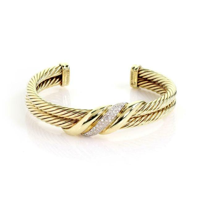 Item - #60027 Diamond 14k Yellow Gold Double Cable Band Cuff Bracelet