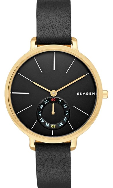 Item - Black Face with Gold Case /Black Strap Hagen Dial Leather Watch