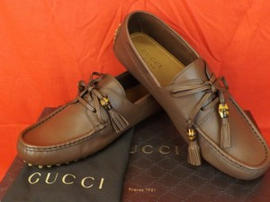 Gucci Brown / New Oak Mens Leather Damo Bamboo Tassel Driver Loafers 9.5 10.5 Shoes