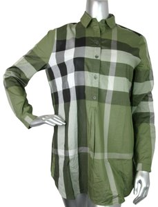 Burberry Women's Cotton Checkered Button Down Shirt Khaki/Green