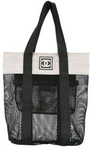 Chanel Sport Logomania Shopping Timeless Tote in Grey and Black