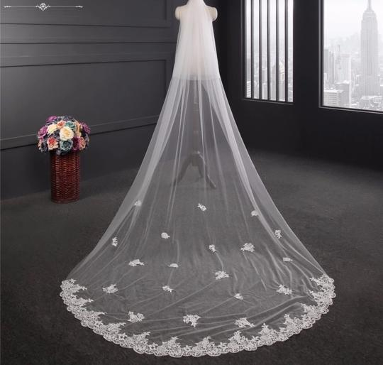 Long White Ivory 3m/10ft 2t Two Layer Cathedral with Comb Lace Edge Bridal Veil Image 1