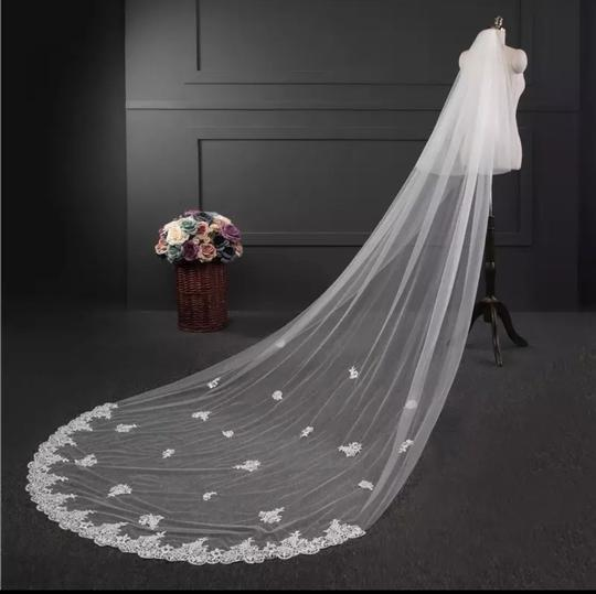 Long White Ivory 3m/10ft 2t Two Layer Cathedral with Comb Lace Edge Bridal Veil Image 2