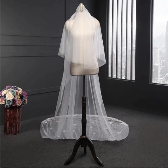 Long White Ivory 3m/10ft 2t Two Layer Cathedral with Comb Lace Edge Bridal Veil Image 4