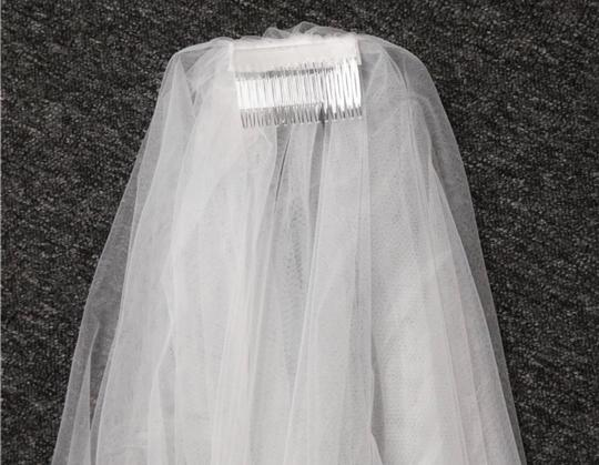 Long White Ivory 3m/10ft 2t Two Layer Cathedral with Comb Lace Edge Bridal Veil Image 5