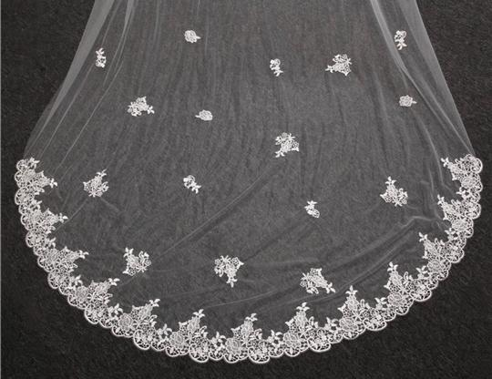Long White Ivory 3m/10ft 2t Two Layer Cathedral with Comb Lace Edge Bridal Veil Image 6
