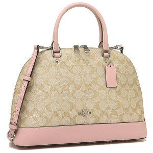 a899e557f5891 Coach Structured Adjustable F27584 Signature Monogram Satchel in Khaki Pink