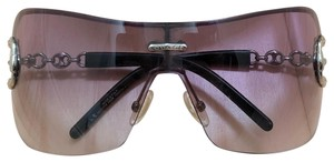 Gucci Shield sunglasses with silver anchor accents