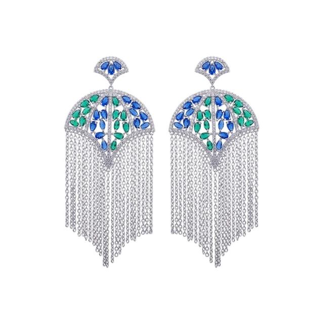 Item - Silver Blue Green Swarovski Crystals The Nayola Earrings