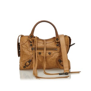 Balenciaga 9gbgst004 Vintage Leather Satchel in Brown