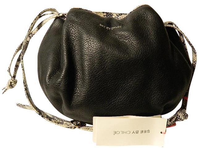 Item - Nwt~see By Python Embossed Drawstring Crossbody~beautiful Black- White- Silver Genuine Leather/ Cotton Cross Body Bag