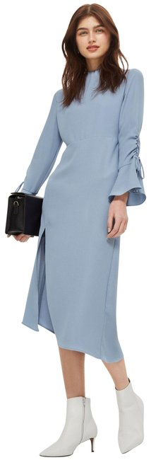 Item - Blue High Neck Rouch Midi Mid-length Casual Maxi Dress Size 8 (M)
