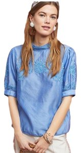 Anthropologie Embroidered Top Blue