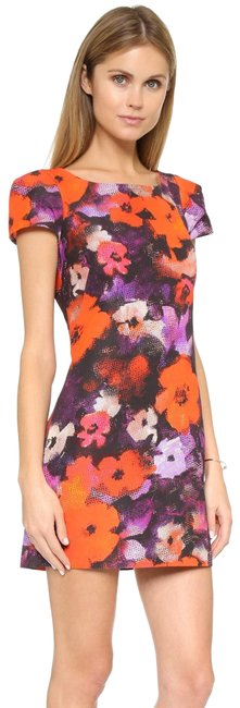 Item - Purple Orange White Black Multi Chloe Cap Sleeve Floral Print Sheath Short Work/Office Dress Size 2 (XS)