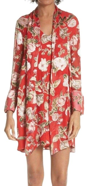 Item - Red Floral Neck Tie Sheath Small Short Cocktail Dress Size 6 (S)