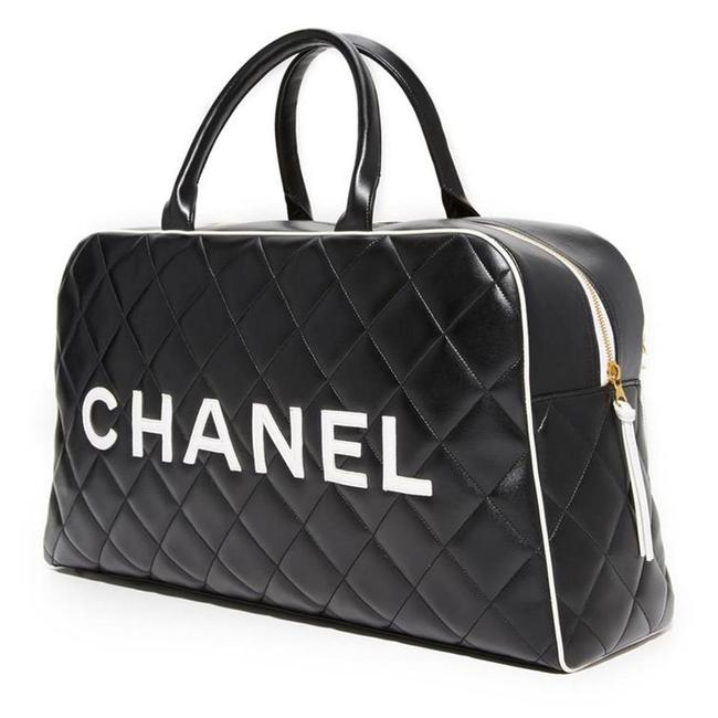 Item - Limited Edition Vintage Xxl Duffel Tote Black and White Leather Weekend/Travel Bag