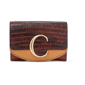 Chloé Chloe C lizard embossed leather small wallet