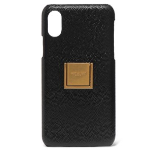 Saint Laurent logo embellished leather iPhone X iPhone XS case cover
