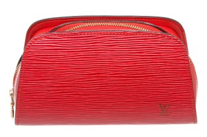 Louis Vuitton Louis Vuitton Red Epi Leather Dauphine PM Cosmetic Case