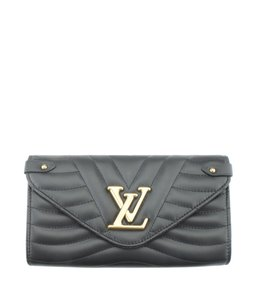 Louis Vuitton Louis Vuitton M63298 New Wave Long Black Leather Snap Wallet (174539)