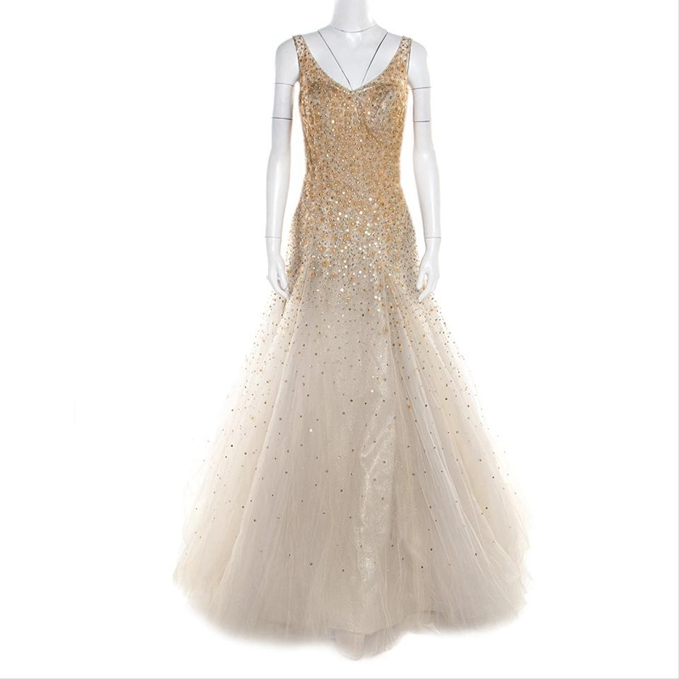 da5dc20246a6 Carolina Herrera Beige Nylon L Grey and Gold Mini Peacock Feather  Embellished Tulle Gown Casual Bridesmaid/Mob Dress Size 12 (L) 94% off  retail