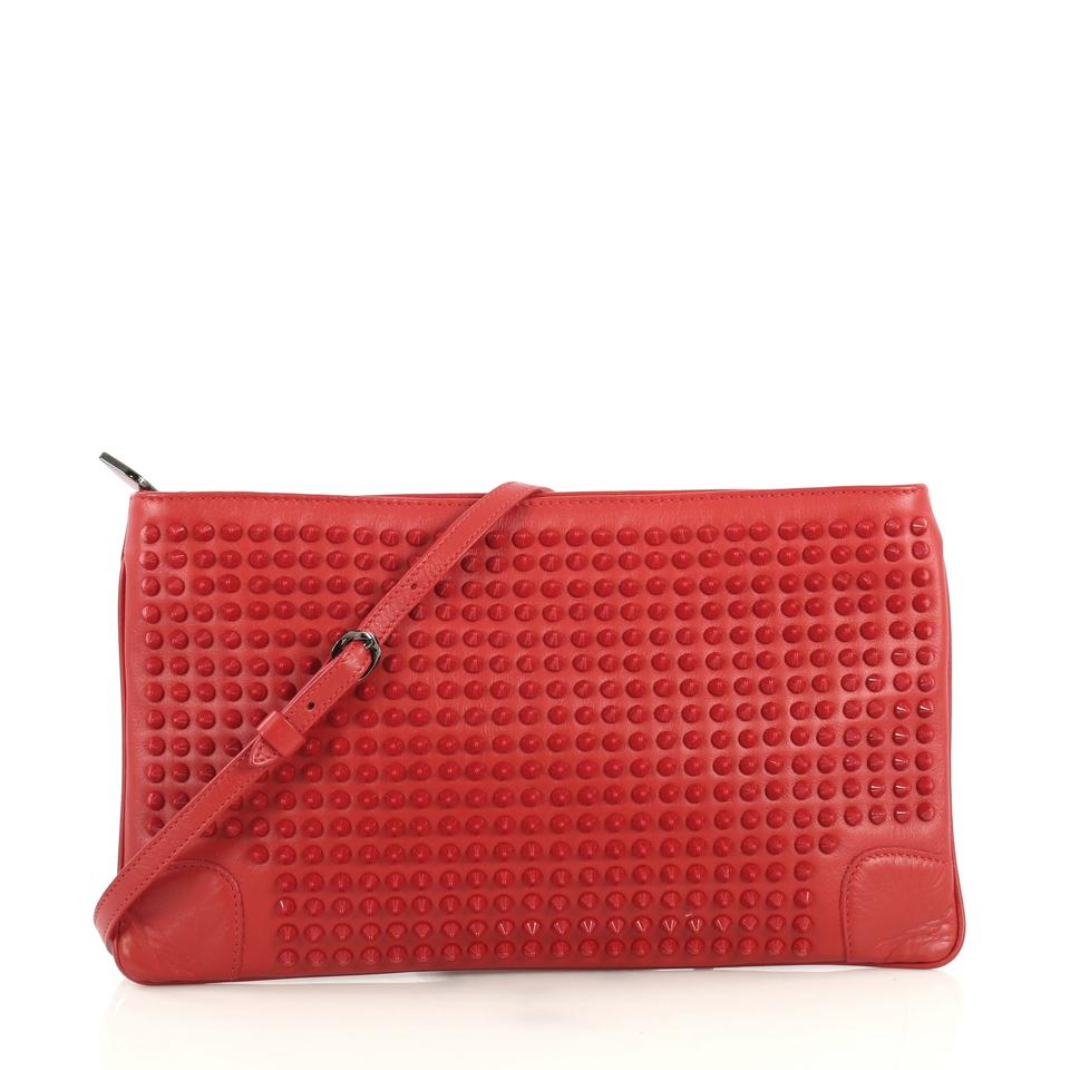 ed3d4614399 Christian Louboutin Loubiposh Spiked Red Leather Clutch 51% off retail