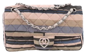 Chanel Cc Heart Flap Printed Jersey Shoulder Bag