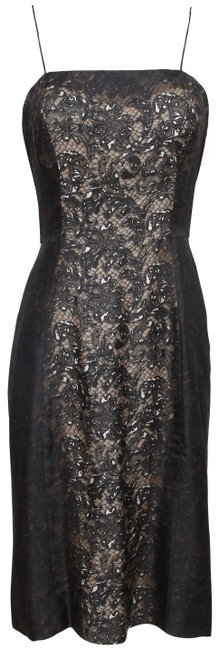 Item - Brown Spaghetti Strap Silk Black Lace Print 40 Mid-length Night Out Dress Size 6 (S)