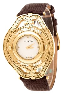 Valentino White Yellow Gold Plated Classic V58 Women's Wristwatch 42 mm