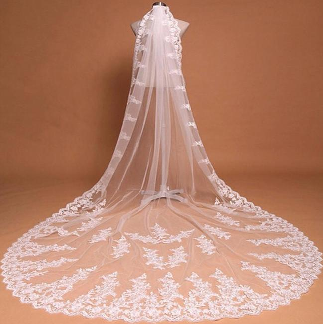 Unbranded Long White Ivory 10ft-3m/15ft-4.5m Cathedral Bridal Veil Unbranded Long White Ivory 10ft-3m/15ft-4.5m Cathedral Bridal Veil Image 1