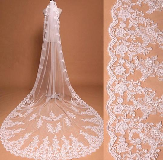 Long White Ivory 10ft-3m/15ft-4.5m Cathedral Bridal Veil Image 3