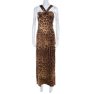Brown Maxi Dress by Dolce&Gabbana Pleated Silk