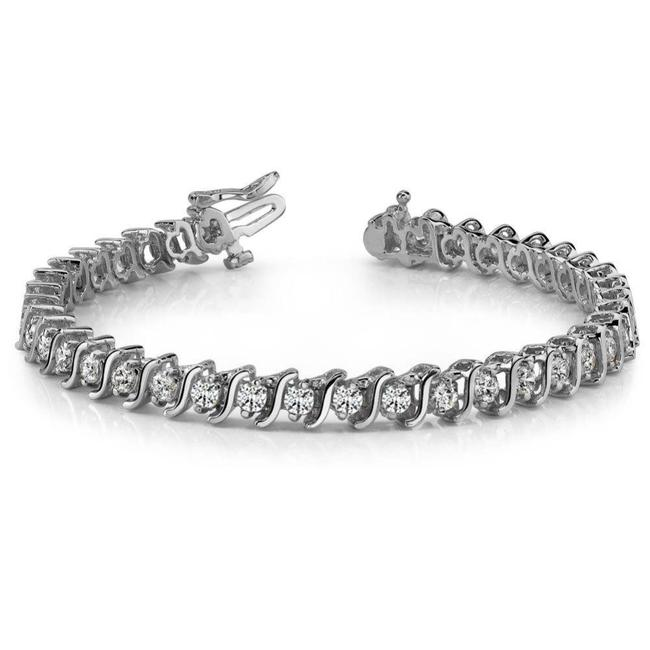 Item - White 3.50 Ct Round Cut S-type Tennis 14 Karat Bracelet